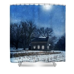Farmhouse Under Full Moon In Winter Shower Curtain by Jill Battaglia