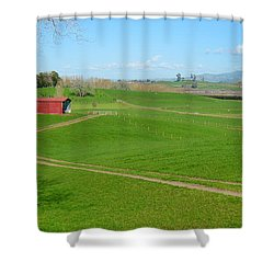 Farming Scene Shower Curtain by Les Cunliffe