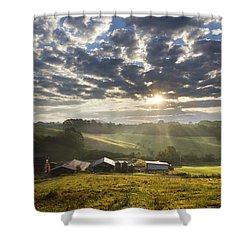 Farmlands Of Appalachia Shower Curtain by Debra and Dave Vanderlaan