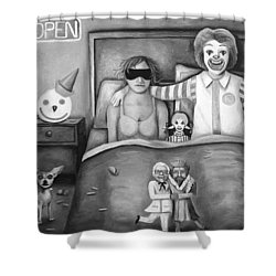 Fast Food Nightmare Bw Shower Curtain by Leah Saulnier The Painting Maniac
