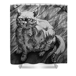 Fat Cat Fur Ball Shower Curtain