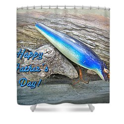 Fathers Day Greeting Card - Vintage Floyd Roman Nike Fishing Lure Shower Curtain by Mother Nature