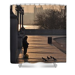 Feeding The Pigeons At Dawn Shower Curtain by Bill Cannon