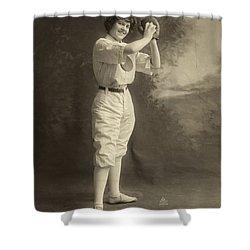Female Baseball Player Shower Curtain by Granger