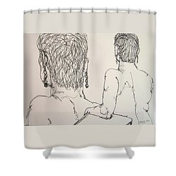Female Nude Beside Herself Shower Curtain