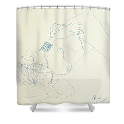 Female Nude In Blue Shower Curtain by Rand Swift