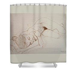 Female Nude Lying Shower Curtain by Rand Swift