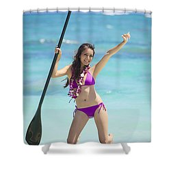 Female Stand Up Paddler Shower Curtain by Tomas del Amo