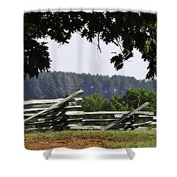 Fence At Appomattox Shower Curtain by Teresa Mucha