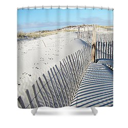 Fences Shadows And Sand Dunes Shower Curtain by Mother Nature