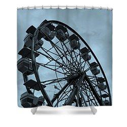 Ferris Wheel Blue Sky Shower Curtain by Ramona Johnston
