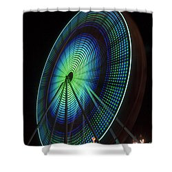 Ferris Wheel Lit Shades Of Green And Blue Shower Curtain