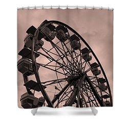 Ferris Wheel Pink Sky Shower Curtain by Ramona Johnston