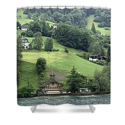 Few Houses On The Slope Of Mountain Next To Lake Lucerne Shower Curtain by Ashish Agarwal