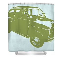 Fiat 500 Shower Curtain by Naxart Studio