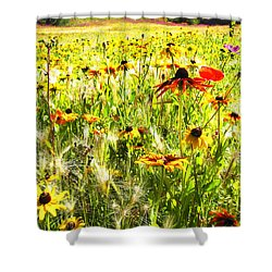 Field Of Bright Colorful Wildflowers Shower Curtain