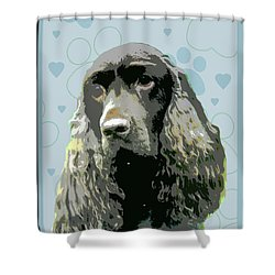 Field Spaniel Shower Curtain by One Rude Dawg Orcutt