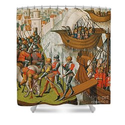 Fifth Crusade Siege Of Damietta 1218 Shower Curtain by Photo Researchers