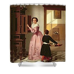 Figures In A Laundryroom Shower Curtain by Gustaaf Antoon Francois Heyligers
