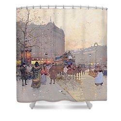 Figures In The Place De La Bastille Shower Curtain by Eugene Galien-Laloue