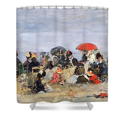 Figures On A Beach Shower Curtain by Eugene Louis Boudin