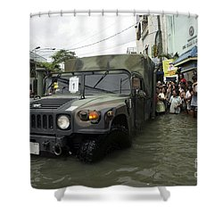 Filipino Citizens Stand In Line Shower Curtain by Stocktrek Images