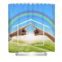 Fingers Touching Together Shower Curtain by Setsiri Silapasuwanchai