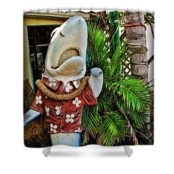Fins To The Left Shower Curtain by Joan  Minchak