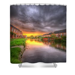 Fire And Storm Shower Curtain by Yhun Suarez