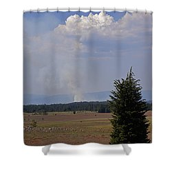 Fire In The Cascades Shower Curtain by Mick Anderson