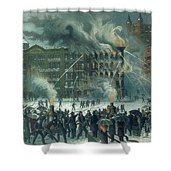 Fire In The New York World Building Shower Curtain by American School