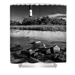 Fire Island In Black And White Shower Curtain