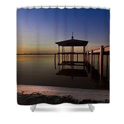 Fire Lake Shower Curtain by Debra and Dave Vanderlaan