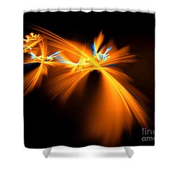 Shower Curtain featuring the digital art Fireflies by Victoria Harrington