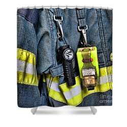 Fireman - The Fireman's Coat Shower Curtain by Paul Ward