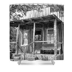 Fireman Cottage B And W Shower Curtain by Douglas Barnard