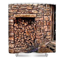 Firewood Shower Curtain by Tom Prendergast