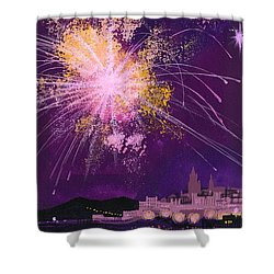 Fireworks In Malta Shower Curtain by Angss McBride