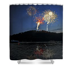 Fireworks On Lake Shower Curtain by Dan Friend