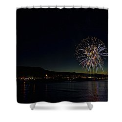 Fireworks On The River Shower Curtain