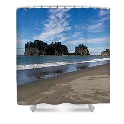 First Beach Shower Curtain by Heidi Smith