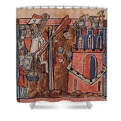 First Crusade Germ Warfare Siege Shower Curtain by Photo Researchers