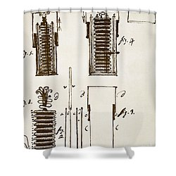 First Electric Battery Shower Curtain by Science Source