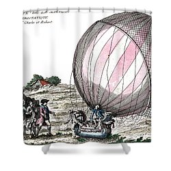 First Manned Hydrogen Balloon Flight Shower Curtain by Photo Researchers