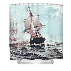 First Recognition Of The Stars And Stripes Shower Curtain by Edward Moran