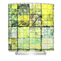 First Time Geometric Yellow Shower Curtain by Mayhem Mediums