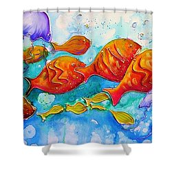 Fish Abstract Painting Shower Curtain