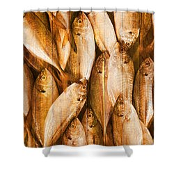 Fish Pattern On Wood Shower Curtain by Setsiri Silapasuwanchai
