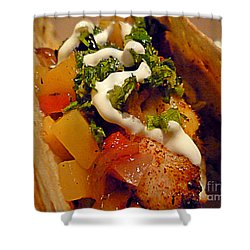 Fish Taco With Mango Salsa Shower Curtain by Renee Trenholm