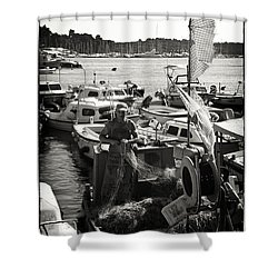 Fisherman Shower Curtain by Madeline Ellis